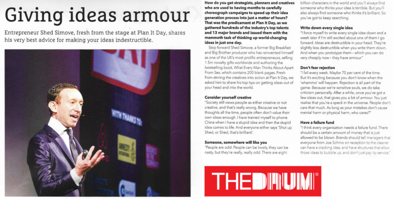 Shed as a motivational speaker on creativity, sales and marketing for The Drum in London